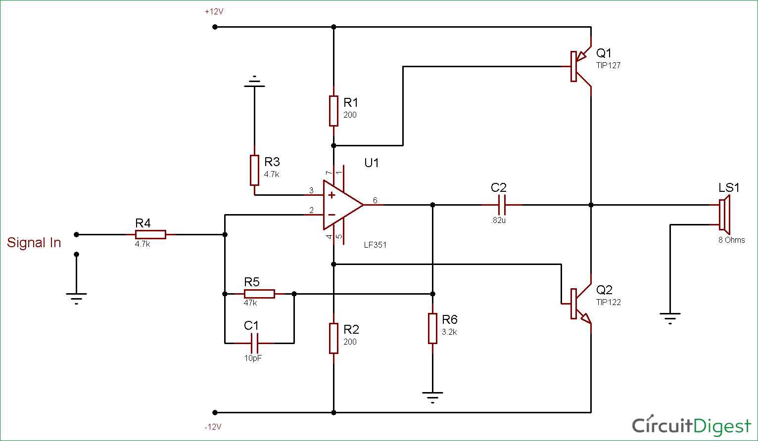 Circuit Diagram for 10 Watt Audio Amplifier using Op-Amp