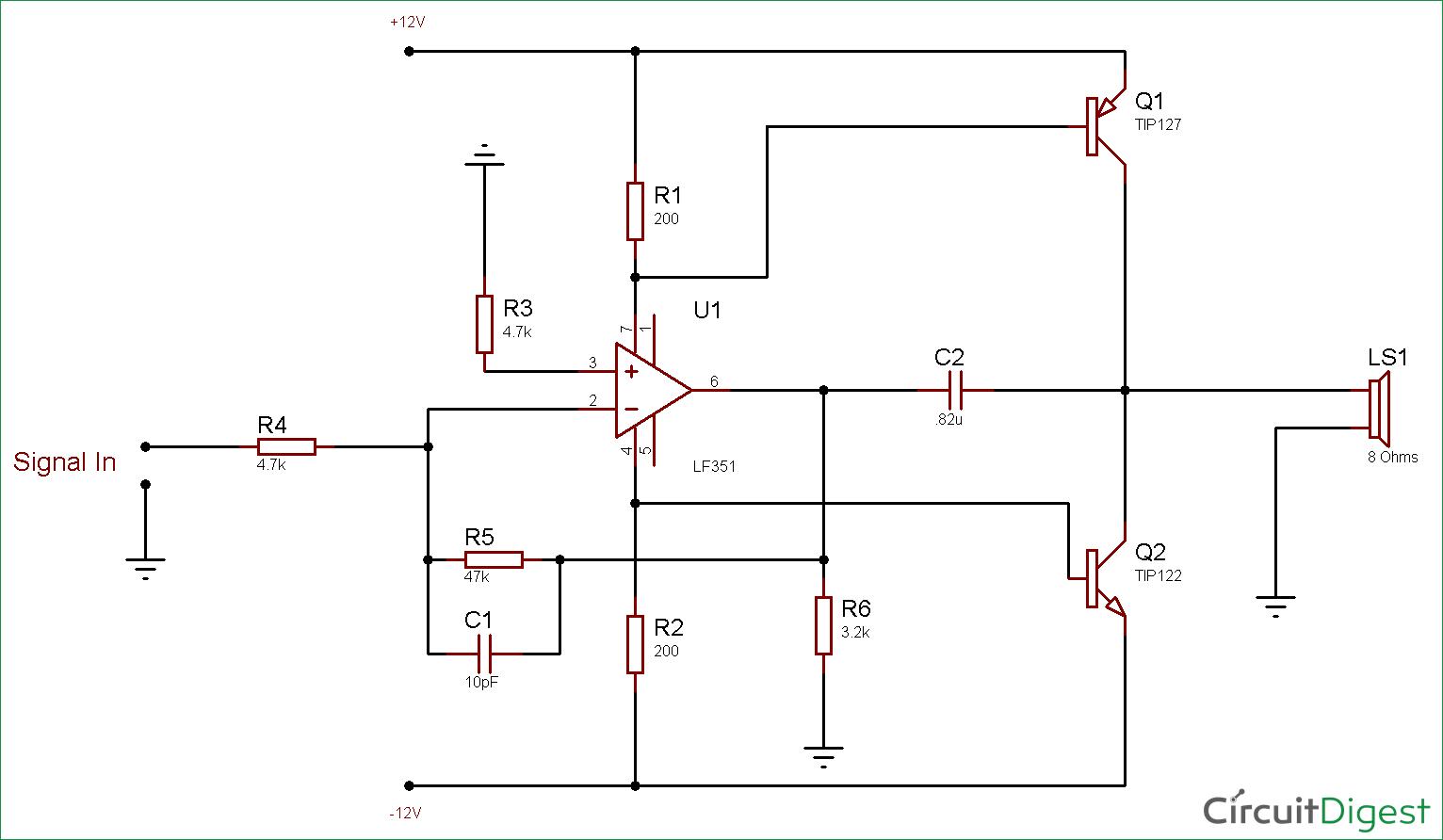 Circuit Diagram For 10 Watt Audio Amplifier Using Op