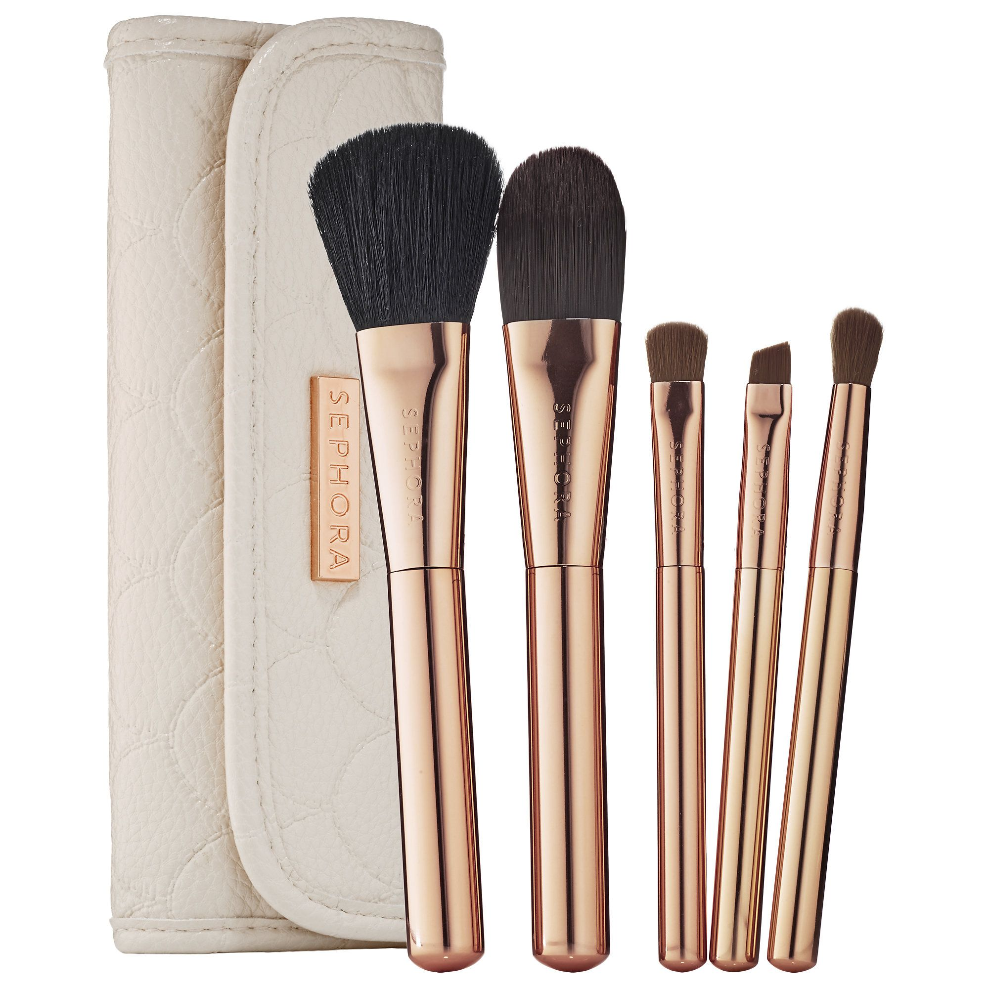 A nextlevel, fivepiece travel brush set encased in a
