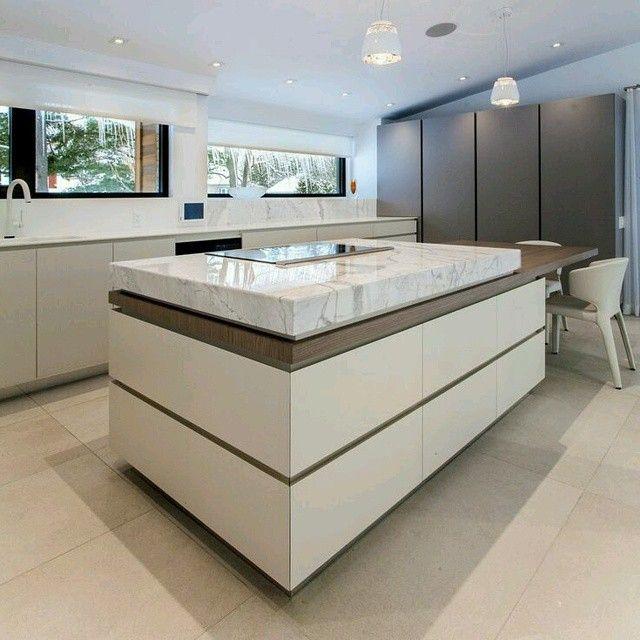 Creativo #diseño de #cocina donde el meson del #pantry se integra ...