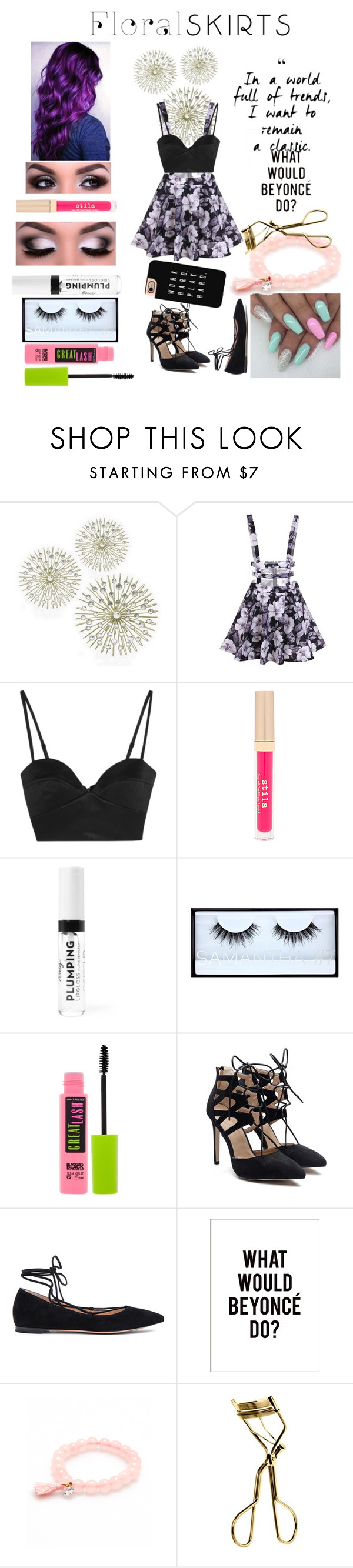 """""""F L O R A L 🌺🌺🌸🌸🌺🌻🌻🌼🌼"""" by moyersk on Polyvore featuring Michael Lo Sordo, Stila, Huda Beauty, Maybelline, Gianvito Rossi, MAC Cosmetics, Casetify and Floralskirts"""