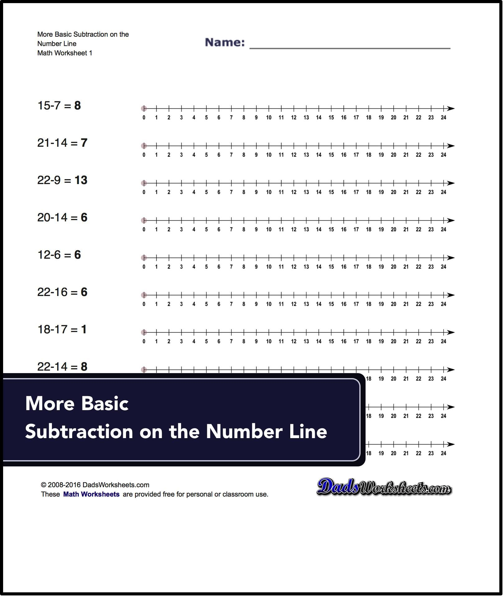 Subtraction Worksheets For More Basic Subtraction On The