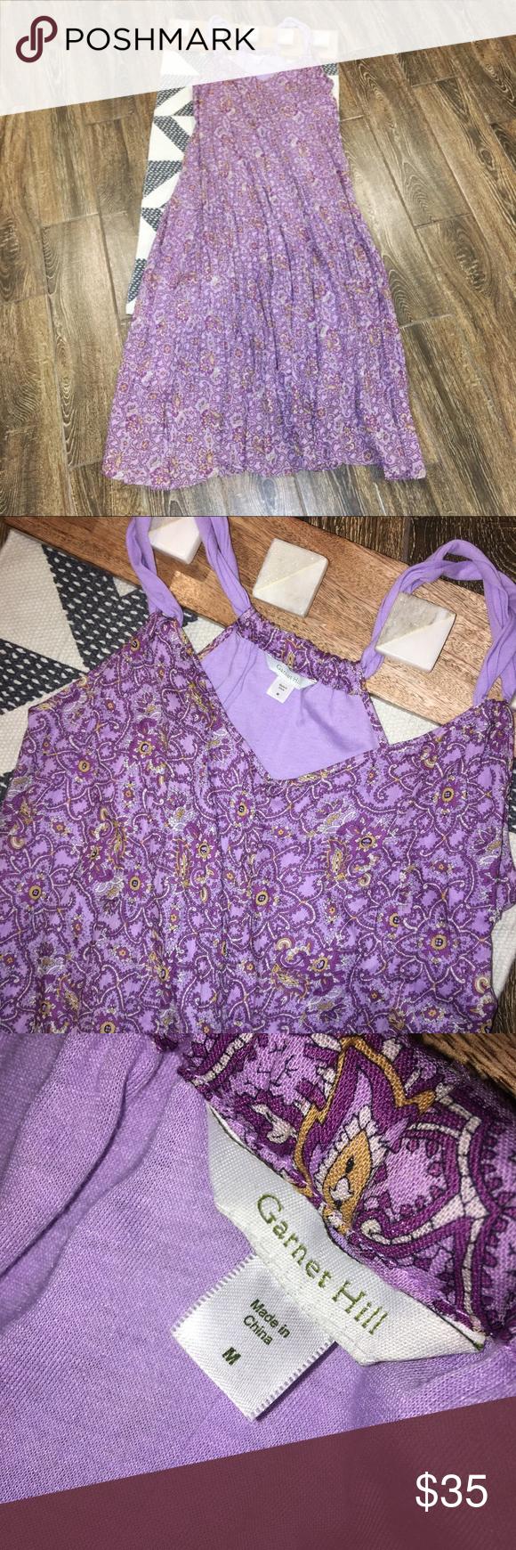 389a05f8e6 Garnet Hill Purple Paisley Gauze Maxi Dress Garnet Hill Women's Cotton  Gauze Long Dress. Twisted straps. Size medium. All measurements in photos.
