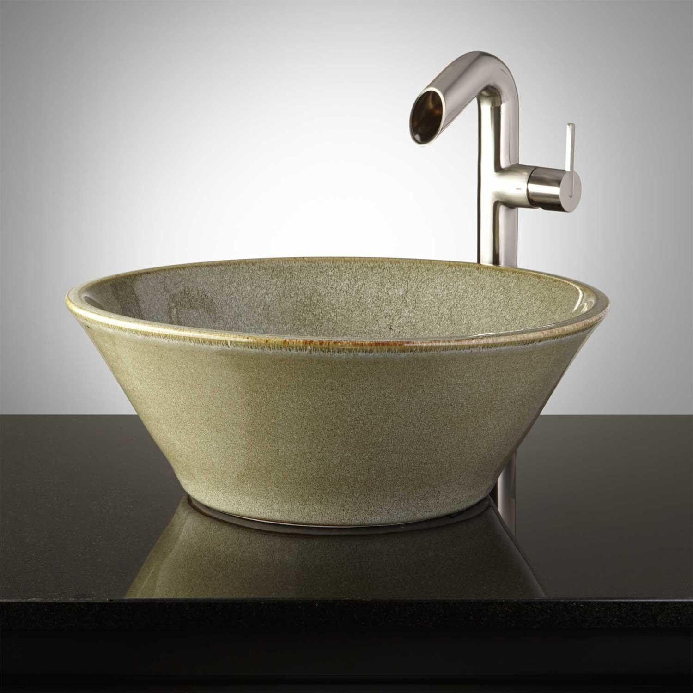 hamblin hand glazed pottery vessel sink toasted sage vessel rh pinterest com
