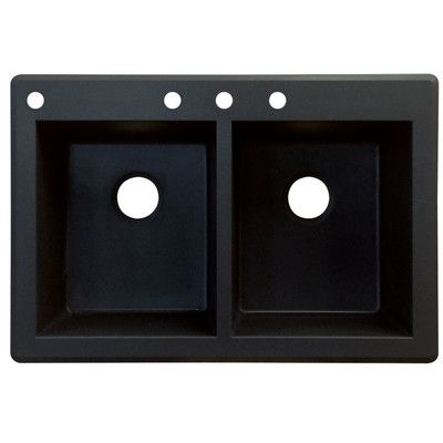 """Transolid Radius 33"""" x 22"""" Double Basin Drop-in Kitchen Sink Finish: Black, Faucet Drillings: 5 hole"""