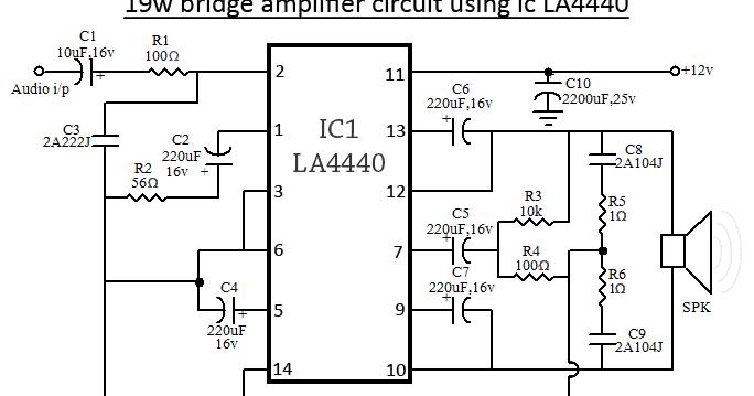 la4440 bridge amplifier circuit diagram audio circuitsla4440 bridge amplifier circuit diagram