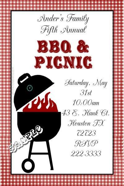 BBQ Invitations Backyard Party Picnic Birthday Family Reunion
