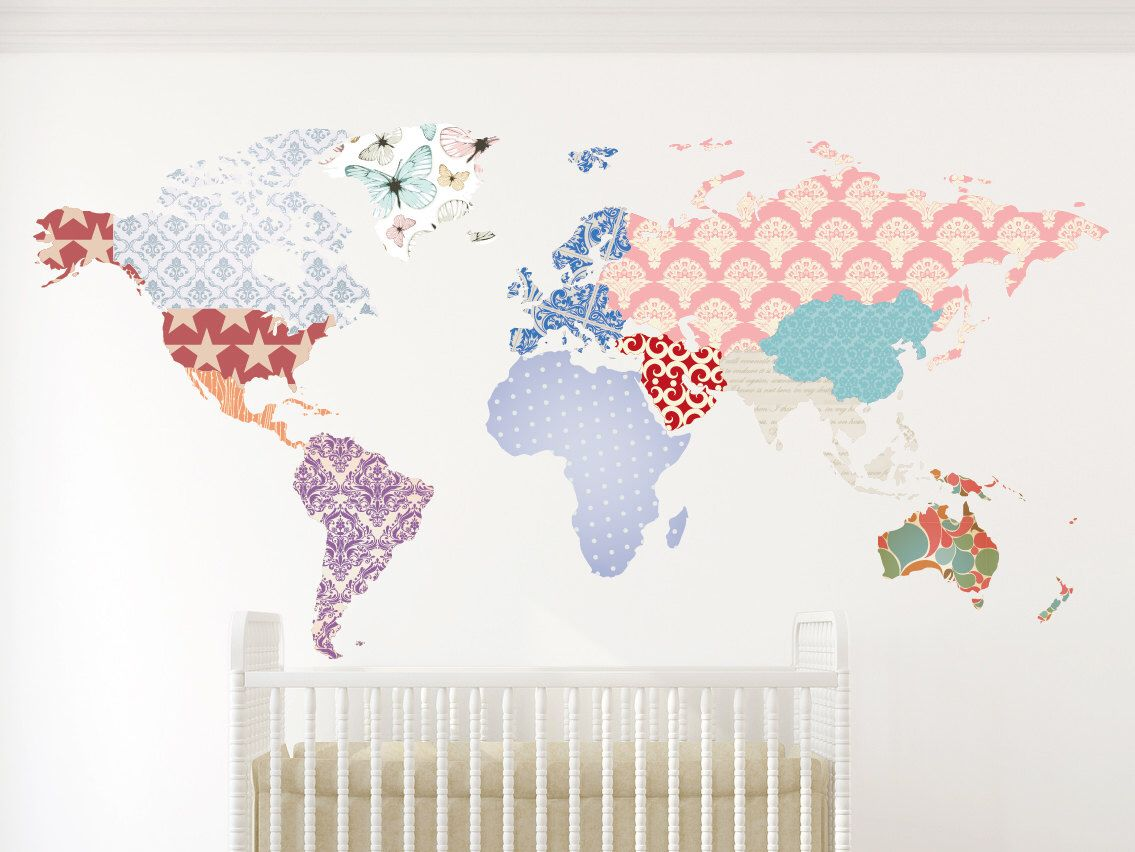 World map decal vintage world flags wall decal wall sticker world map decal vintage world flags wall decal wall sticker removable by decoratingwalls gumiabroncs Images