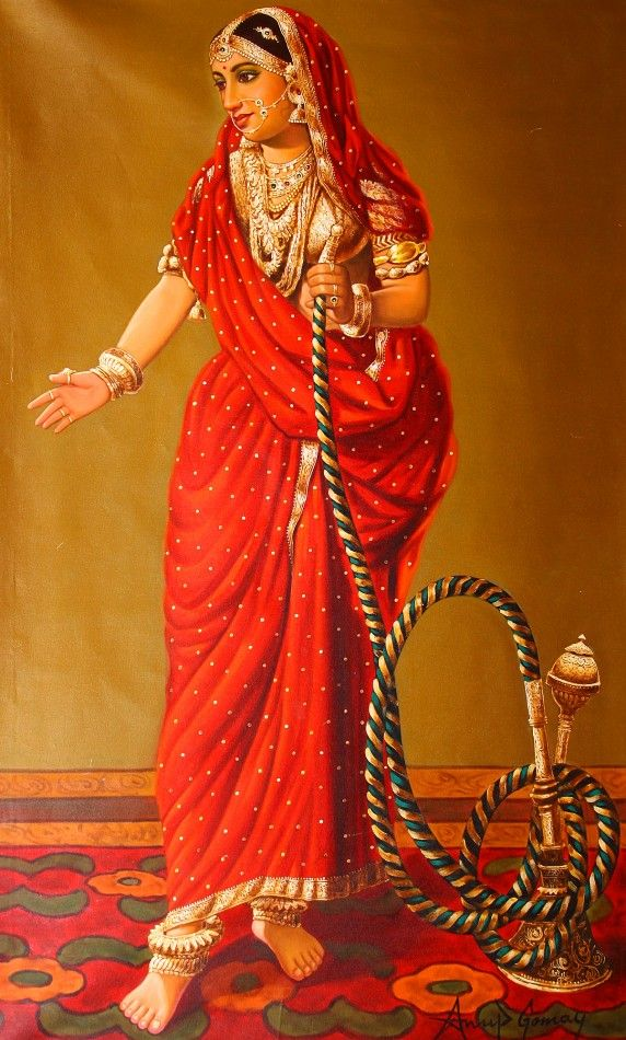 Lady With Hookah Rajasthani Painting Indian Women Indian Paintings