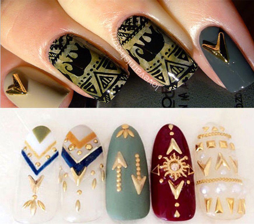 2pcs 4 5mm Sharp Triangle Nail Art Decorations Shiny Gold Alloy Decor