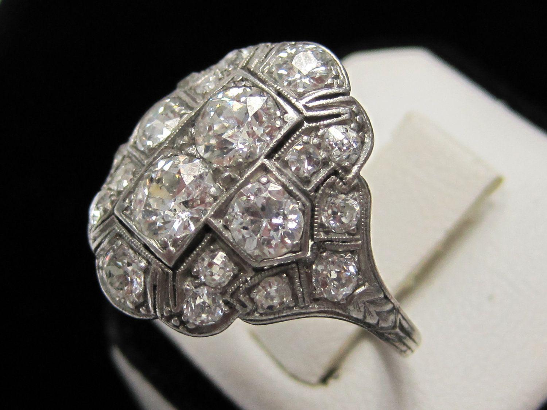 Lds Platinum Diamond Antique Wedding Ring, 1920s Peacock