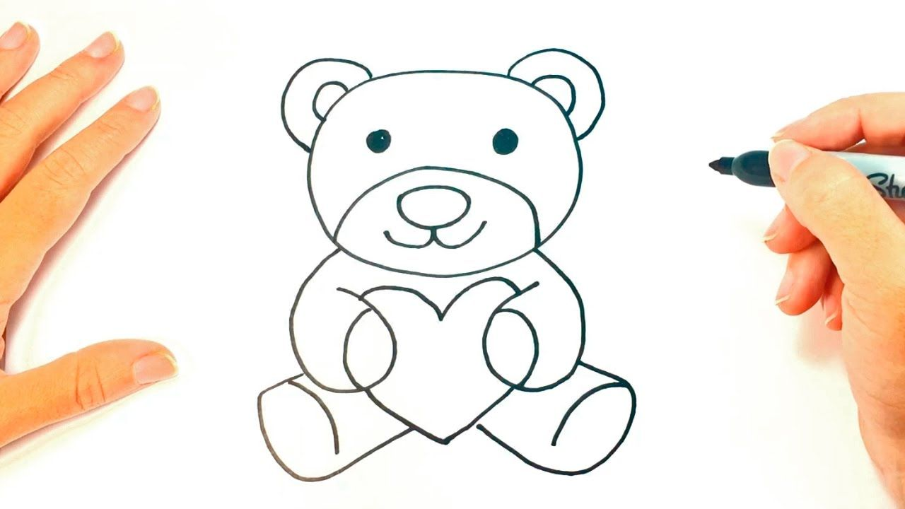 How To Draw A Teddy Bear Teddy Bear Easy Draw Tutorial Youtube Teddy Bear Drawing Easy Teddy Bear Drawing Bear Paintings