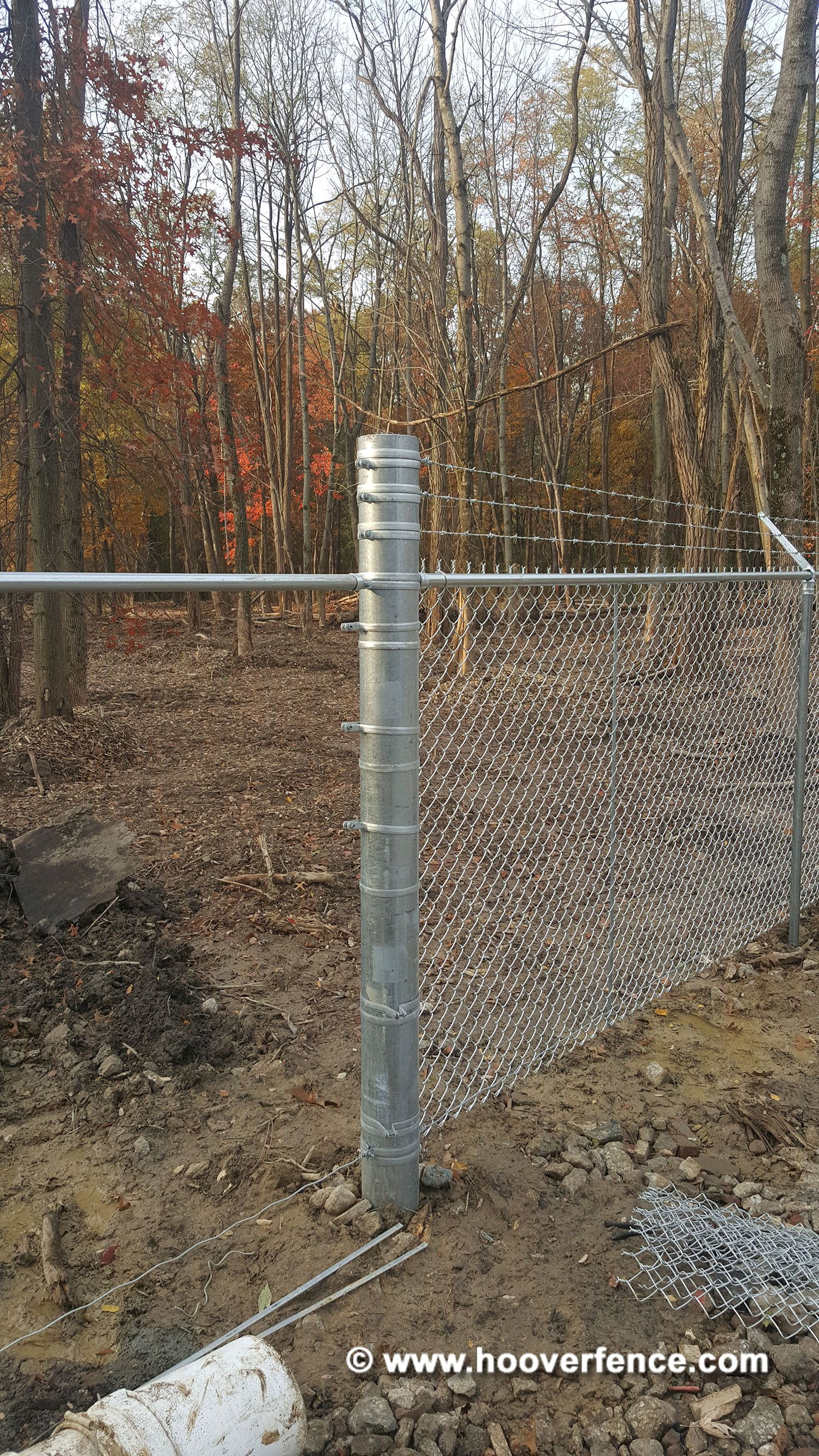 Hf40 Round Chain Link Fence Posts And Pipes Galvanized Hoover Fence Co
