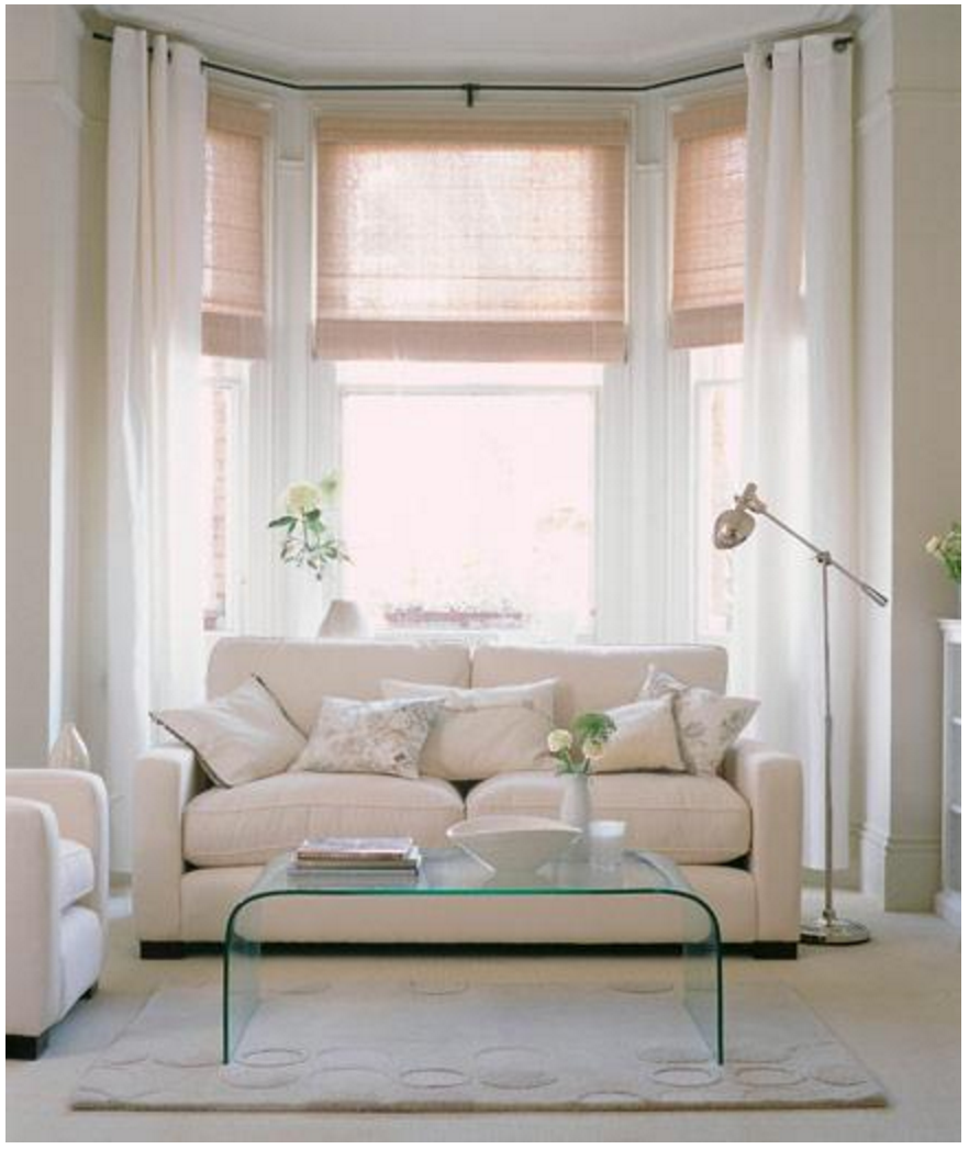 Bay window window dressing with waterfall coffee table - Living room bay window treatments ...