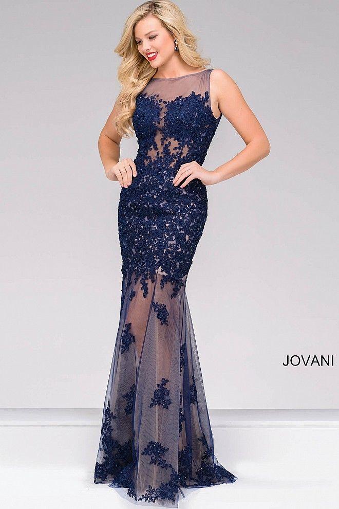 Navy Sheer Neckline Open Back Prom Dress 40999