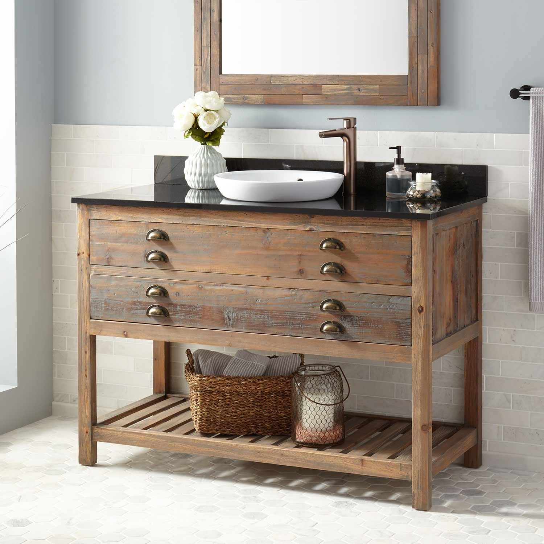48 Benoist Reclaimed Wood Console Vanity For Semi Recessed Sink Gray Wash Pine Wood Bathroom Vanity Reclaimed Wood Bathroom Vanity Reclaimed Wood Vanity