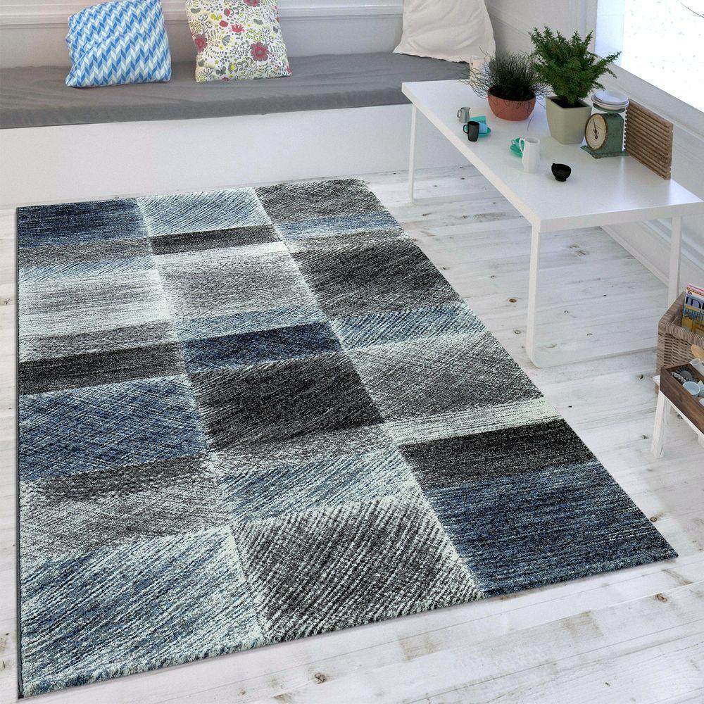 Moderner Karo Teppich Vintage Blau Shaggy Teppich Kurzflor