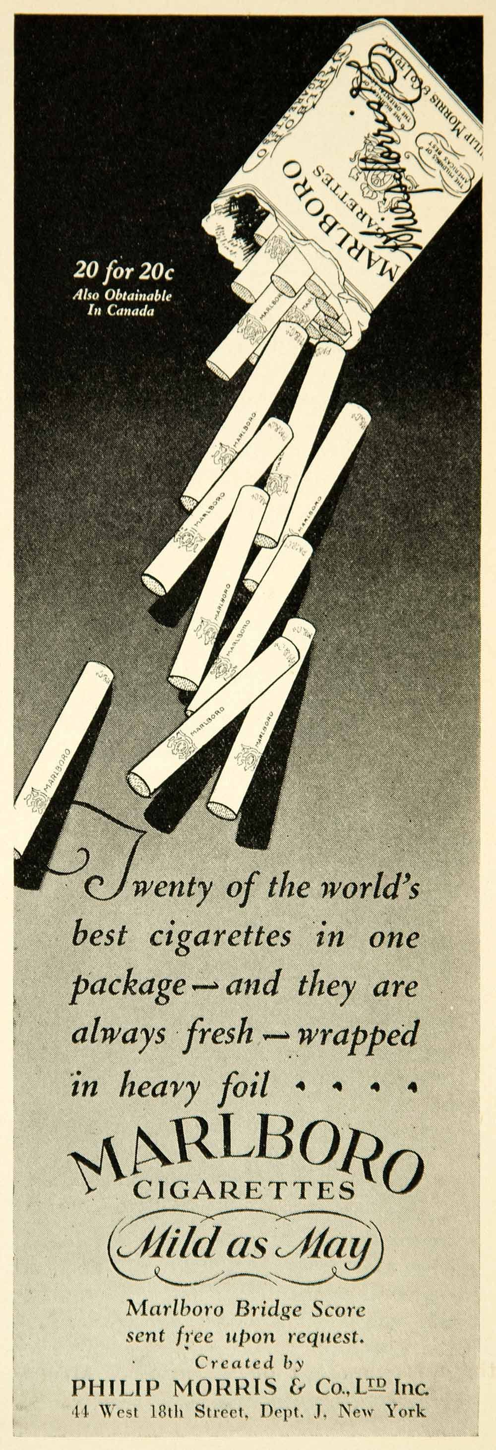 1927 Ad Vintage Marlboro Cigarettes Philip Morris Tobacco Smoking Package Pack MILD AS MAY LOOOOOL