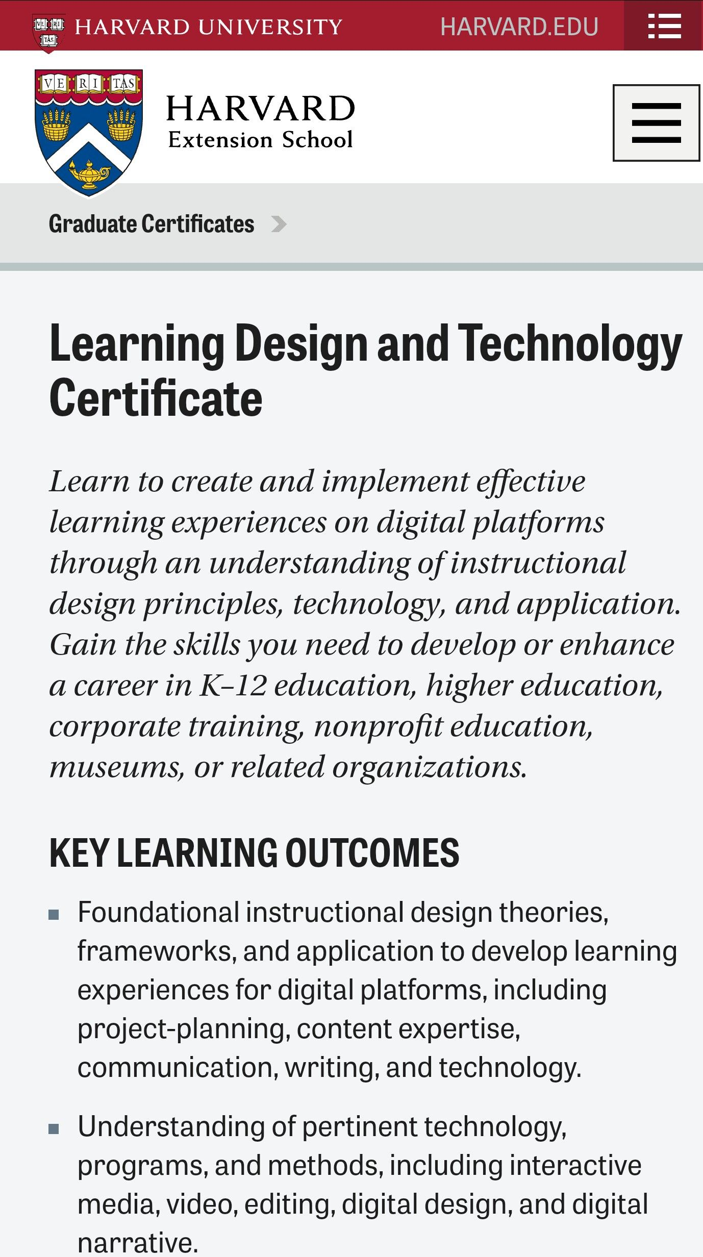 Harvard Extension School Post Grad Certificate In Learning Design