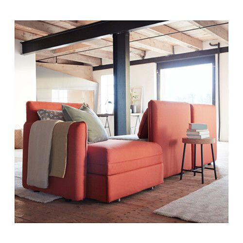 VALLENTUNA Sleeper sectional, 3-seat - Orrsta orange Funnarp black - wohnzimmer orange beige