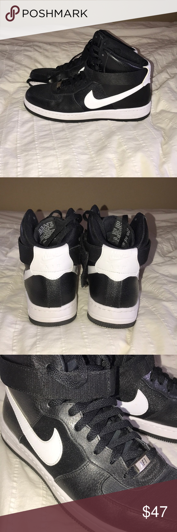 Black/white high top Air Force 1s Womens size 10 High top