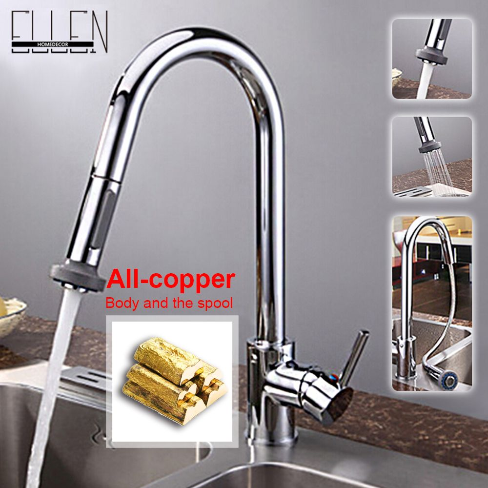 Single lever kitchen faucet with mixer hot and cold water tap pull ...