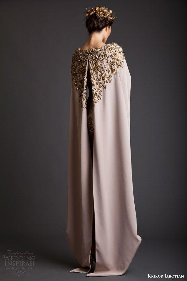 c3b7a2271a38f krikor jabotian spring 2014 couture akhtamar short wedding dress embroidered  floor length cape back view