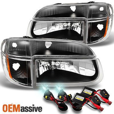 Black Headlights Corner 8000k Hid Set For 95 96 97 98 99 00 01 Ford Explorer