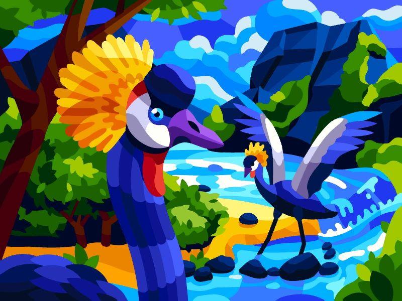Crane Birds Colorful Art Art Bird Art