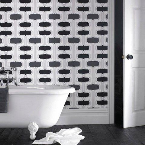 Graham & Brown Groovy Wallpaper Black/White Bathroom