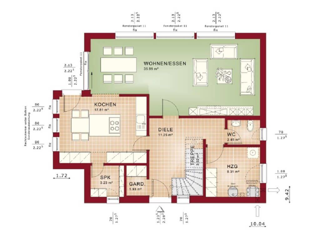 Grundriss Designhaus mit Flachdach   Haus Evolution 154 V9 Bien - offene kuche wohnzimmer grundriss