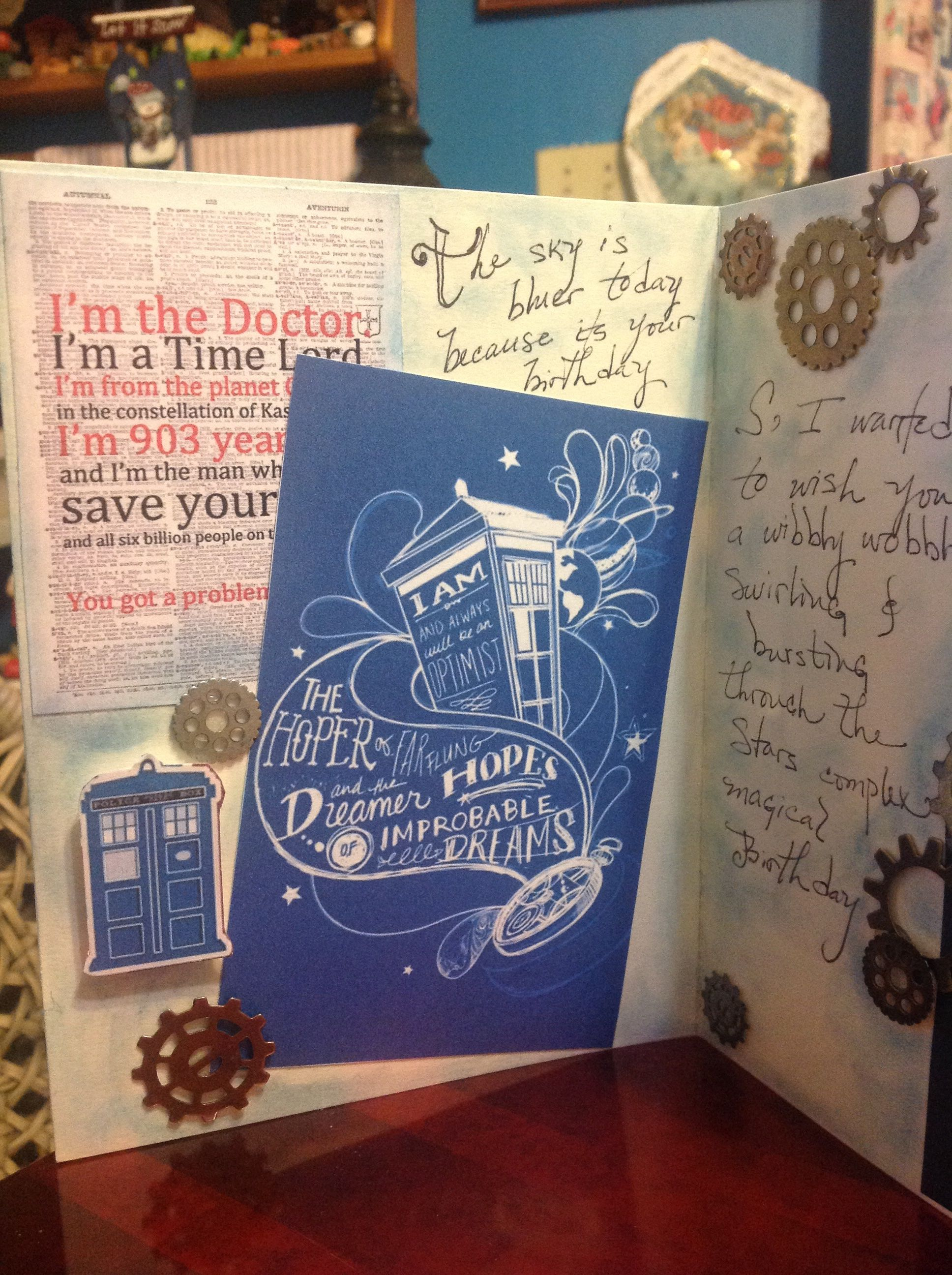 Dr Who Birthday Card Inside Geek Crafts Cards Handmade Cards
