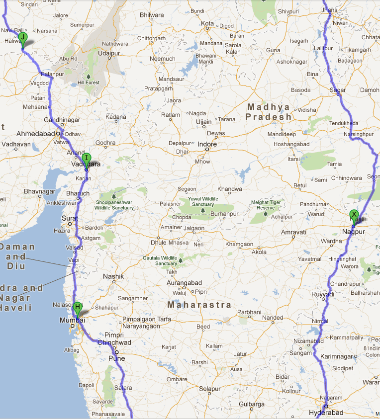india road trip google map central india