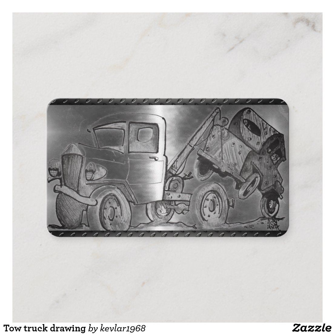 Tow truck drawing business card in 2020 Tow