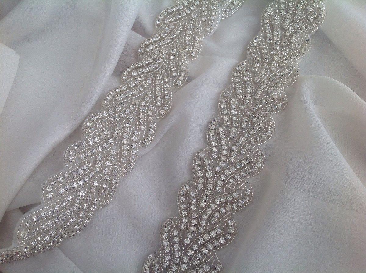 542b5763d625fd Cinto Noiva todo bordada a mão em cristais e mini miçangas com ...
