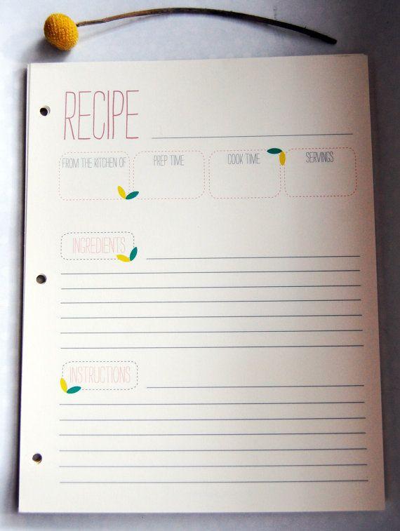 Spring Recipe Cards 8.5 x 11 van RufflyOwlPaperCo op Etsy