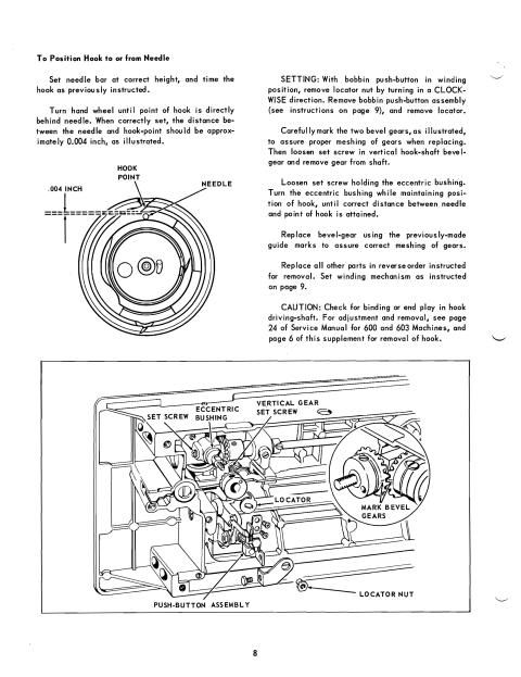 Singer 628 sewing machine service manual.   Here are just a few examples of what's included in this manual:  * Inspection and lubrication.  * Remove and replace rotating hook.  * Hook timing.  * Needle thread tension assembly.  * Trouble shooting guide.  * Wiring diagram.  * List of parts.  Great diagrams!  Includes parts diagrams.  41 page service manual.