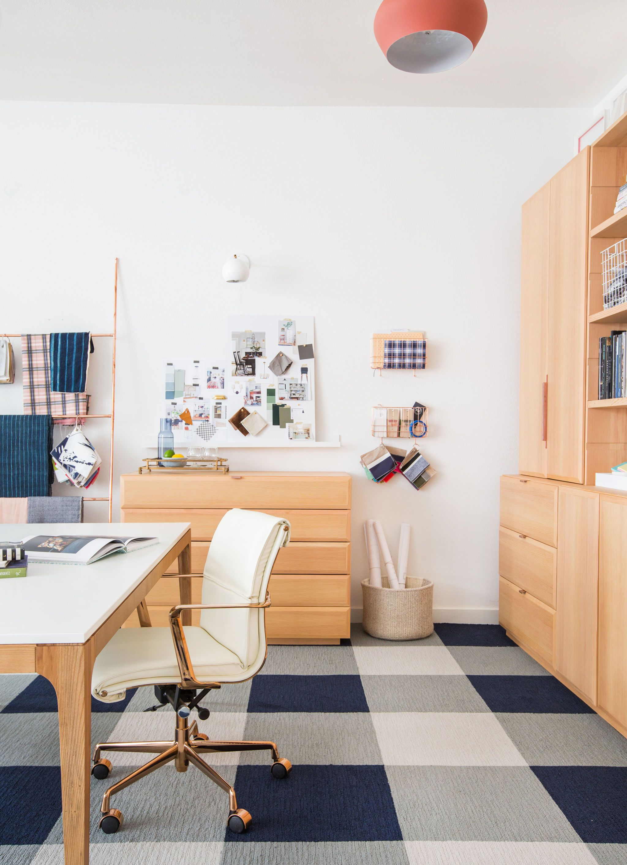 home office home office makeover emily. Bright Home Office With A Soft Wood Atmosphere, White Chair And  Checkered Floor. We Love The Copper Ladder. Makeover Emily R
