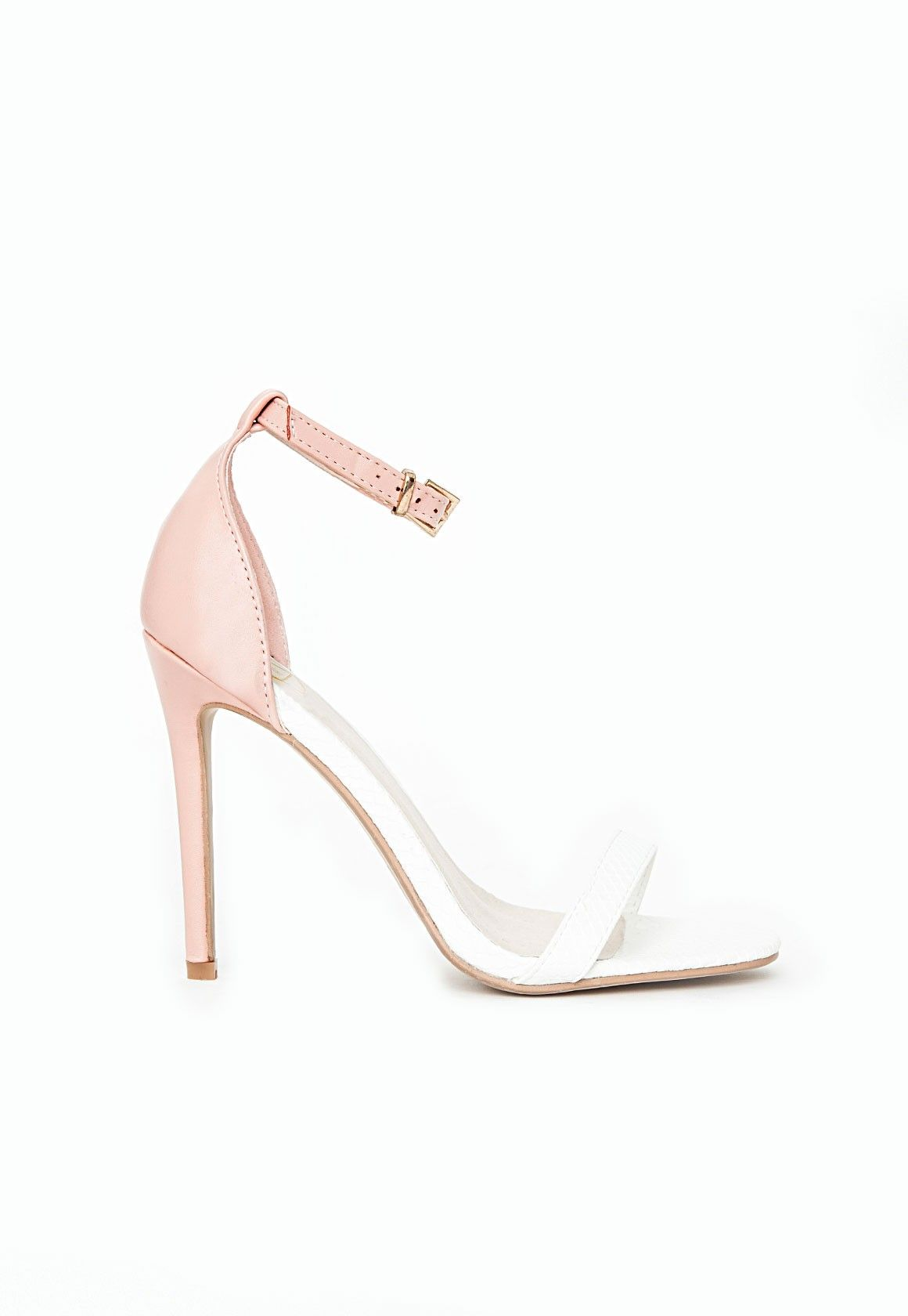 0739f575c21 Missguided - Clara Contrast Snake Print Strappy Heeled Sandals Blush ...