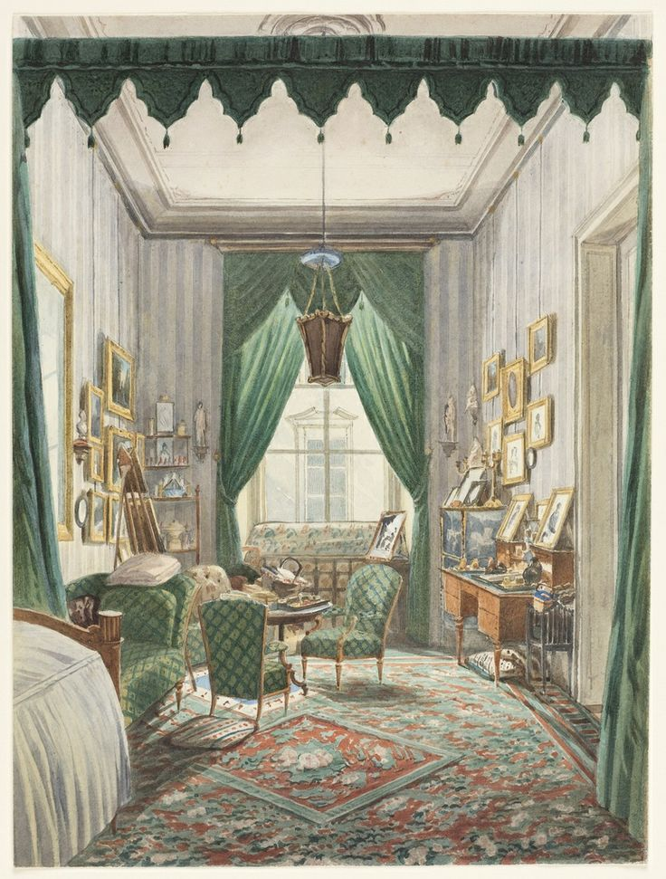 Austrian school interior with a curtained bed alcove for Interior design osterreich