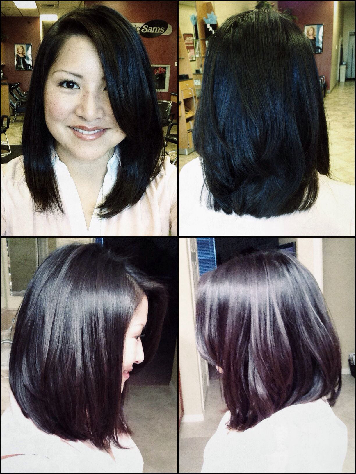 long layered, a-line bob with side bang. all-angle view. blow dried
