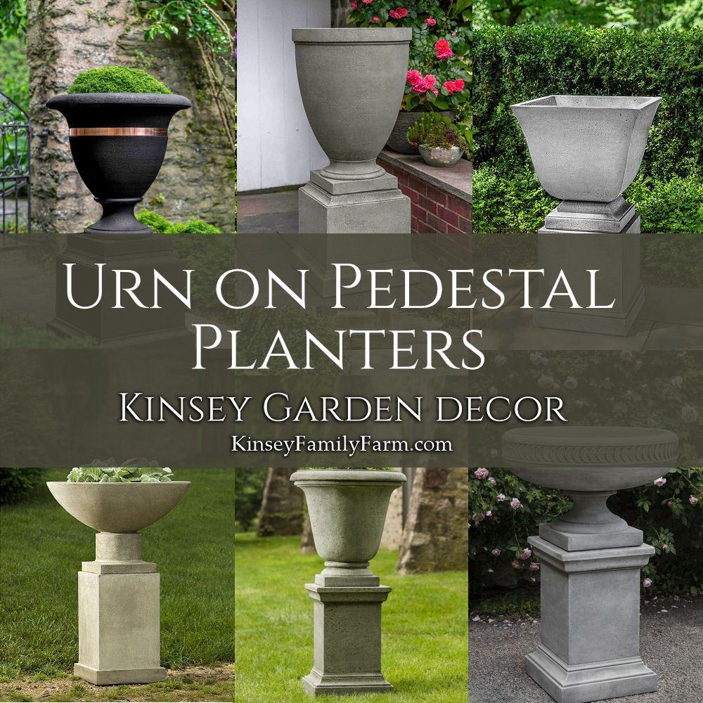 Kinsey Garden Decor Cast Stone Urn Planter On Pedestal Square Urn Planters Garden Urns Planters