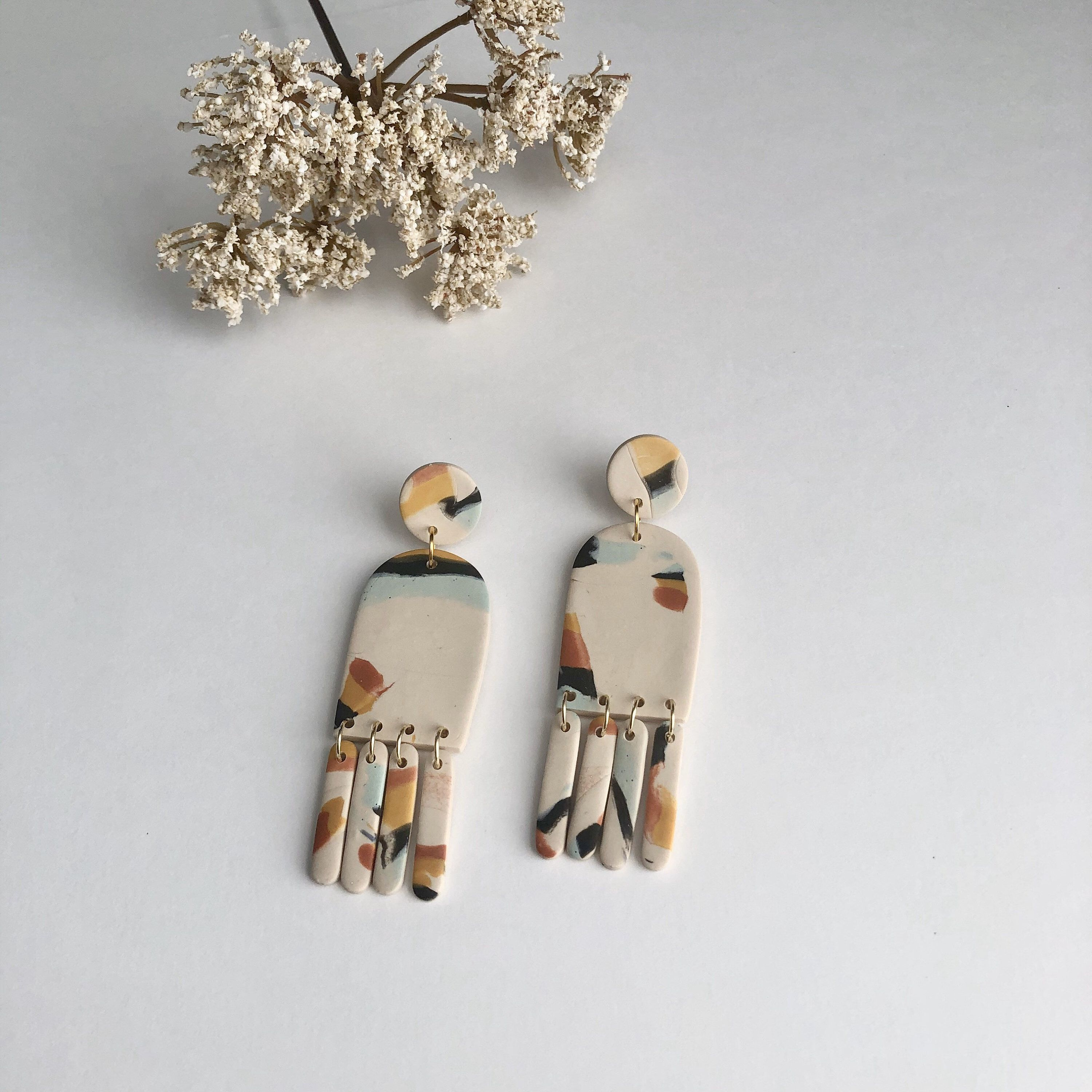 Handmade Gift For Women Elegant and Unique Earrings Polymer Clay Drop Earrings With Golden Stainless Steel Posts
