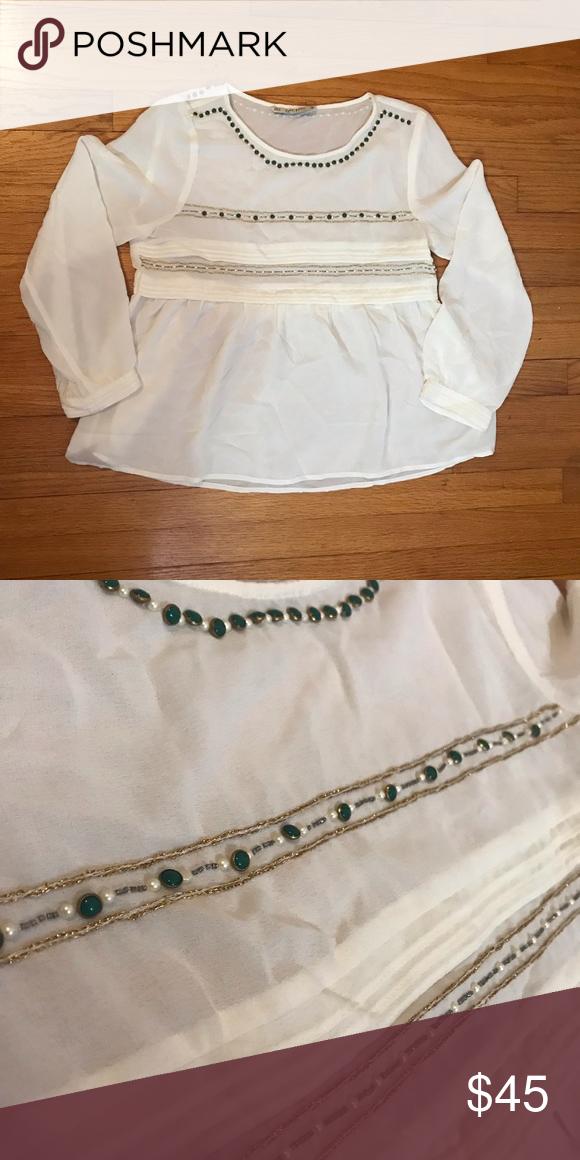 fb426bda83452 Zara Beaded Blouse Cream blouse with nice beadwork Zara Tops Blouses ...