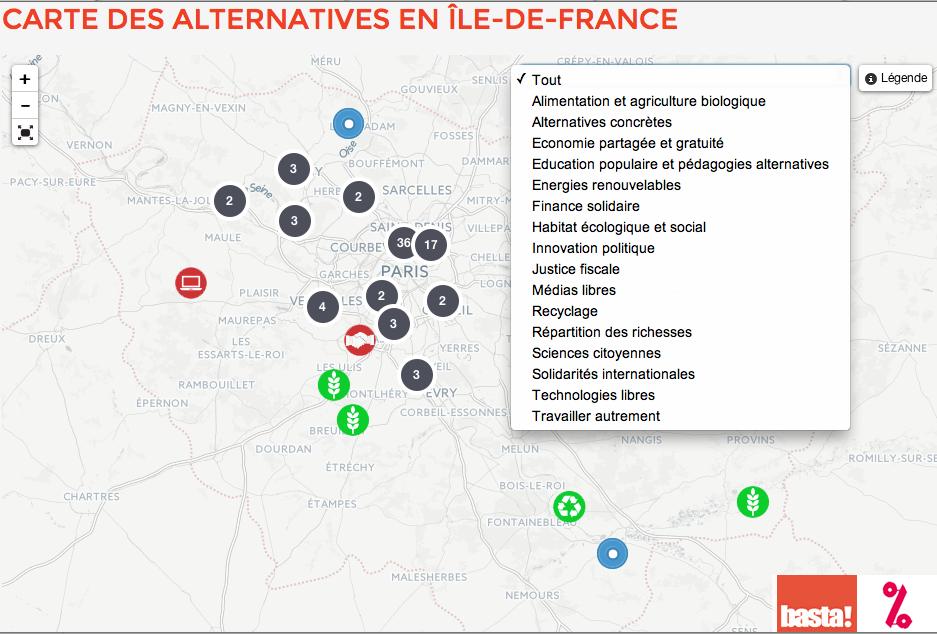 La carte des alternatives franciliennes une centaine d
