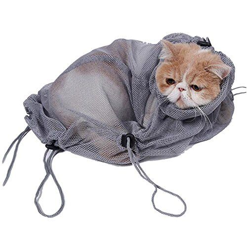 Cat Bath Restraint Adjule Polyester Mesh Bag Grooming Cleaning No Scratching Biting For Bathing Nail T Injecting