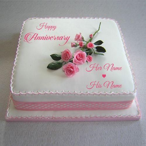 Write Couple Name Happy Anniversary Pink Rose Cake Wedding Cake With Name Print Name On Happy Marriage Anniversary Cake Happy Anniversary Cakes Pink Rose Cake