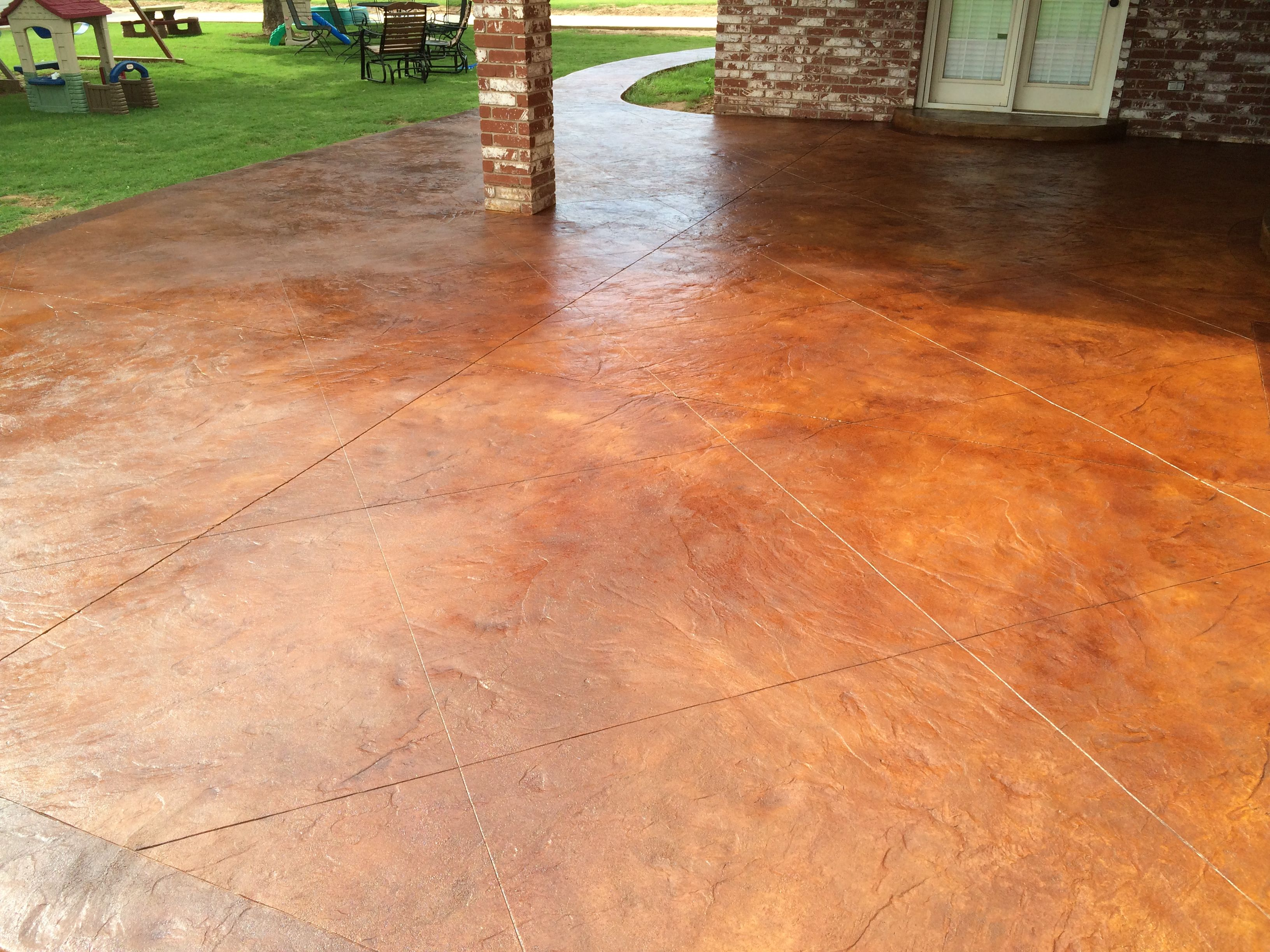 Italian Slate, Stamped Concrete, Stained Concrete, Vintage Umber Stain,  English Red Stain