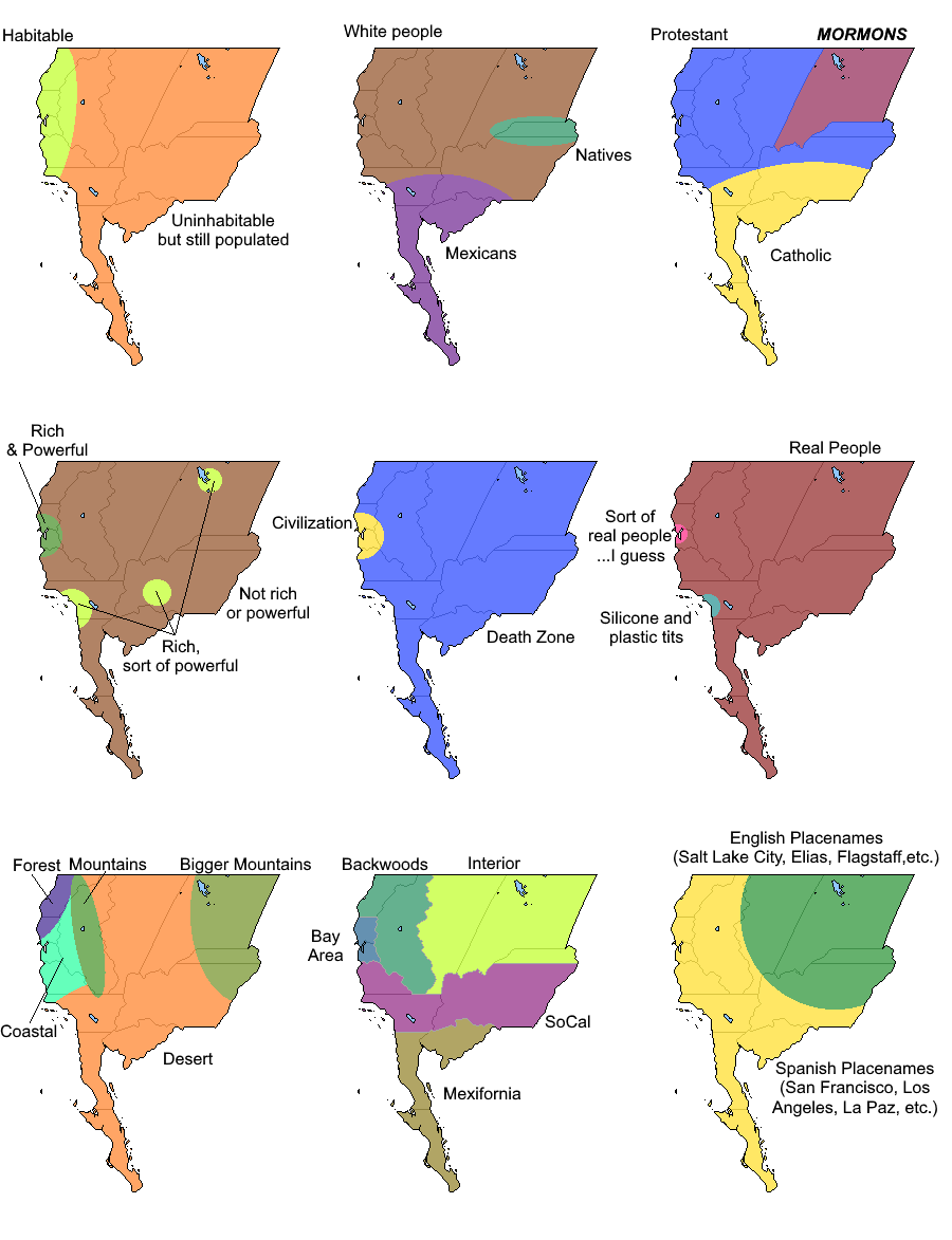 9 Ways To Divide The California Republic Maps Map Crafts Map