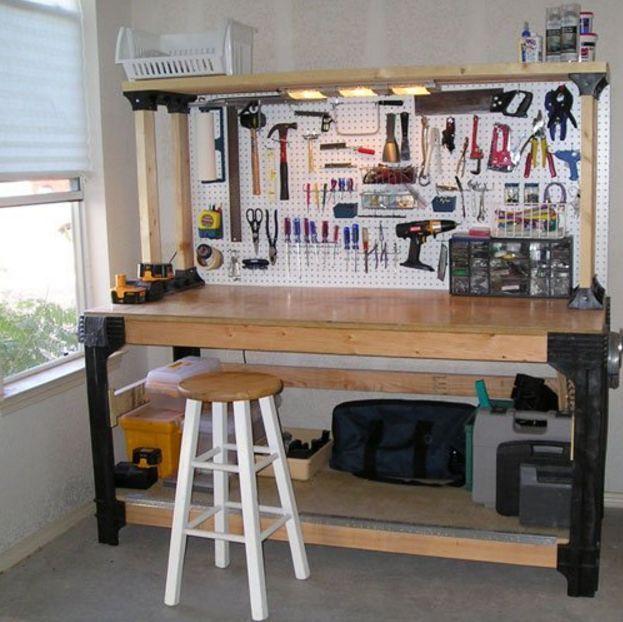 Garage Storage Systems Workbench Shelving Heavy Duty Custom Hopkins Basics Kit Workbench Plans Diy Workbench Garage Storage